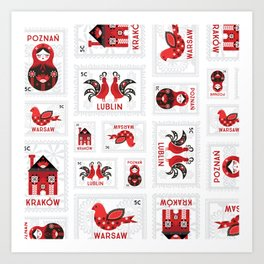 Polish Folk Stamps Art Print