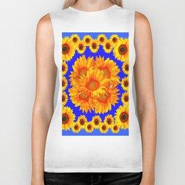 Royal Blue Golden Sunflowers Garden Art Biker Tank