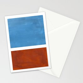 Antique Pastel Blue Brown Mid Century Modern Abstract Minimalist Rothko Color Field Squares Stationery Cards