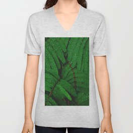 Layers Of Wet Green Fern Leaves Patterns In Nature Unisex V-Neck