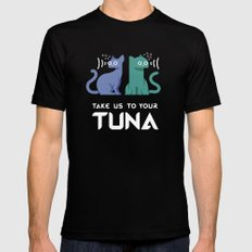 Take Us to Your Tuna MEDIUM Black Mens Fitted Tee