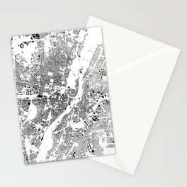 Munich Map Schwarzplan Only Buildings Stationery Cards