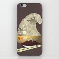 ramen iPhone & iPod Skins featuring The Great Ramen Wave by Sheharzad