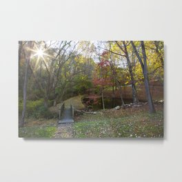 Small bridge & lake in Autumn Metal Print