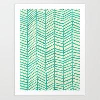 herringbone Art Prints featuring Mint Herringbone by Cat Coquillette