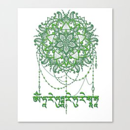 Green Tara Mantra with Mandala Canvas Print
