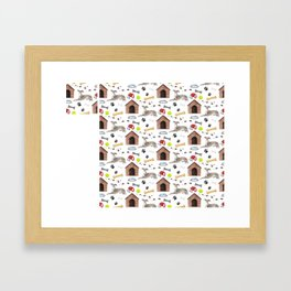 Italian Greyhound Half Drop Repeat Pattern Framed Art Print