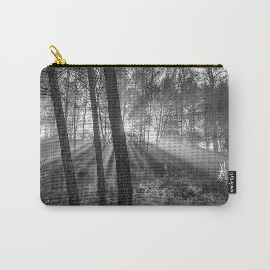 """""""Sunrise through the foggy forest"""". Forest dreams. Mono Carry-All Pouch"""