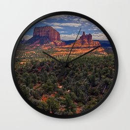 Bell Rock Courthouse Butte of Sedona Panorama Wall Clock