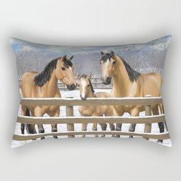 Buckskin Quarter Horses In Snow Rectangular Pillow