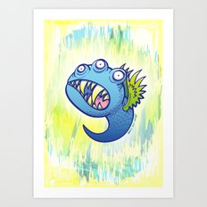 Terrific winged little blue monster Art Print