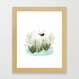 Red Winged Black Bird & Botanicals Framed Art Print