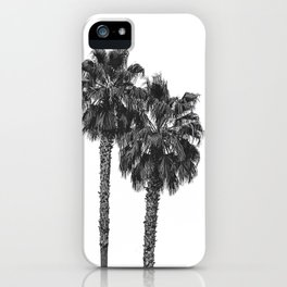 Dos Palmeras // Tropical Black and White Palm Tree Photography California Nature Ocean Vibes iPhone Case