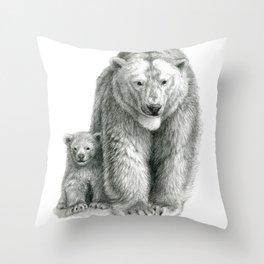Polar bear and cub SK041 Throw Pillow