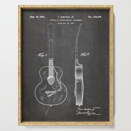 Accoustic Guitar Patent - Classical Guitar Art - Black Chalkboard Serving Tray