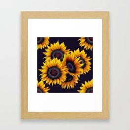 Sunflowers yellow navy blue elegant colorful pattern Framed Art Print