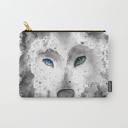 black and white : wolf Carry-All Pouch