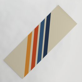 Rainbow 70s 60s Stripe Colorful Rainbow Tan Retro Vintage Yoga Mat
