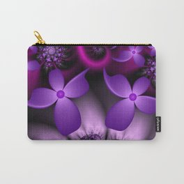 Purple Fantasy Flowers Fractal Carry-All Pouch