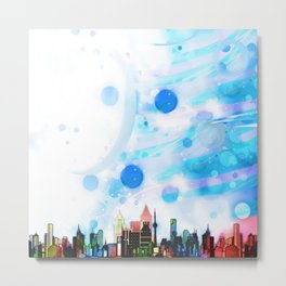 Bright Architecture and Snowflakes Metal Print