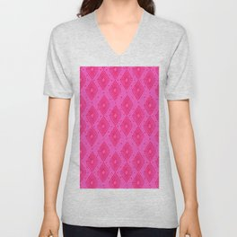 Mudcloth Dotty Diamonds in Neon Pink + Red Unisex V-Neck