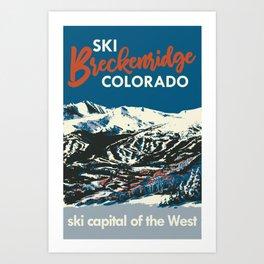 Blue Breckenridge Vintage Ski Poster Art Print