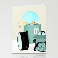 karen hallion Stationery Cards featuring Karen form Chicks & Wheels by Simone Massoni