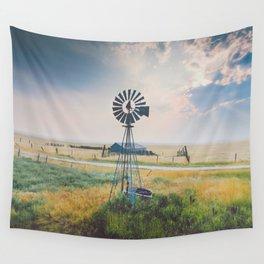 Windmill Sunset Wall Tapestry
