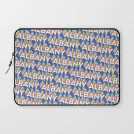 Albany, New York Trendy Rainbow Text Pattern (Blue) Laptop Sleeve