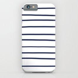 Pantone Blue Depths 19-3940 Hand Drawn Horizontal Lines on White iPhone Case