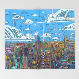new york city skyline colorful Throw Blanket