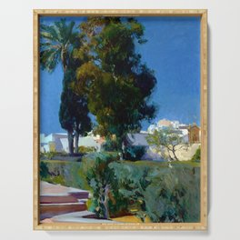 Joaquin Sorolla y Bastida Corner of the Garden, Alcazar, Sevilla Serving Tray