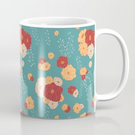 Anemone Floral Bouquets on Blue Coffee Mug