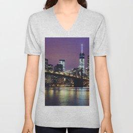 Manhattan Skyline over the Brooklyn Bridge at Night Unisex V-Neck