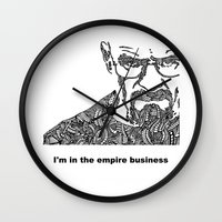 walter white Wall Clocks featuring Walter White by christoph_loves_drawing