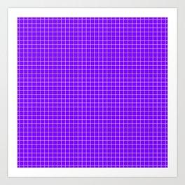 Purple Grid White Line Art Print