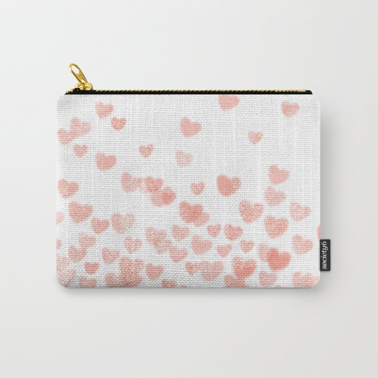 Hearts falling painted pastels heart pattern minimal art print nursery baby art Carry-All Pouch