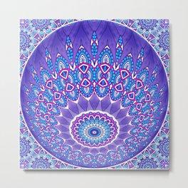 Indian Patterns Mandala Ball - Blue Pink White Metal Print