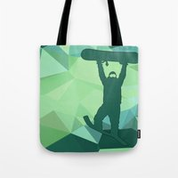 snowboard Tote Bags featuring Snowboard by B Remembered Designs