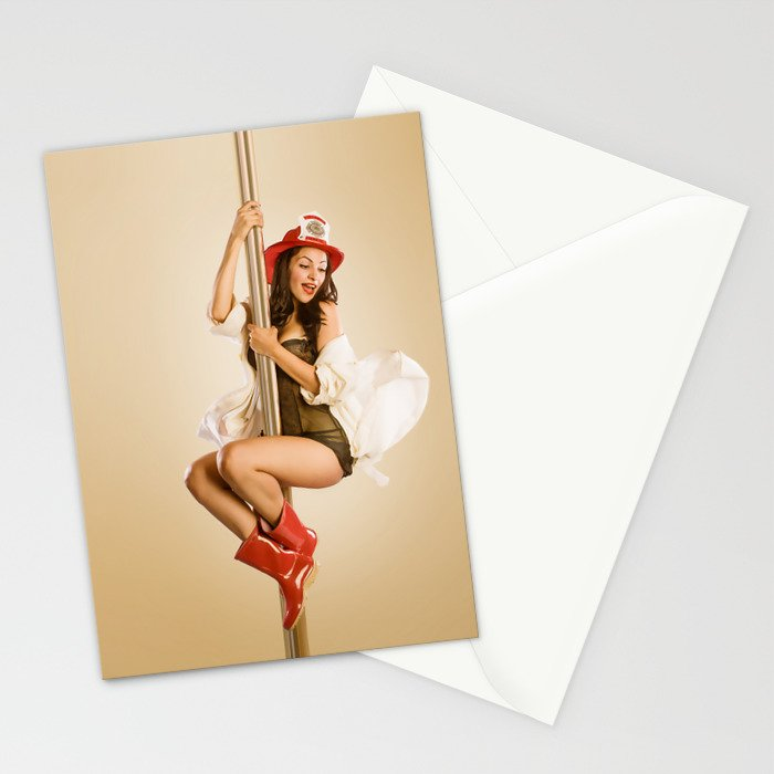 """""""Four-Alarm Flirt"""" - The Playful Pinup - Firefighter Girl Pin-up by Maxwell H. Johnson Stationery Cards"""