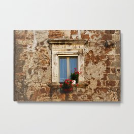 Antique window with red flowers Metal Print