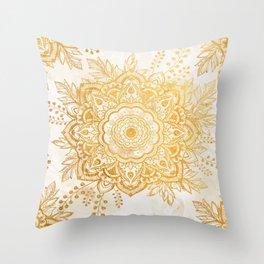 Queen Starring of Mandala-Gold Sunflower I Throw Pillow