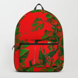 RED ABSTRACTED GREEN IVY HANGING VINES ART Backpack