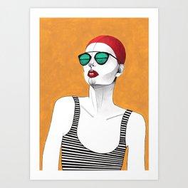 Stripe Swimmer Art Print