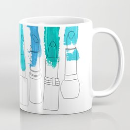 Lipstick Stripes - Blue Teal Turquoise Coffee Mug