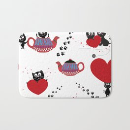 Teapot with black cats. Happy Valentine's day seamless fabric design Bath Mat
