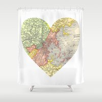 boston map Shower Curtains featuring I Love Boston Vintage Map by Eyne Photography