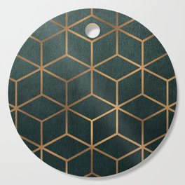 Dark Teal and Gold - Geometric Textured Gradient Cube Design Cutting Board
