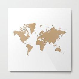 World with no Borders - brown Metal Print