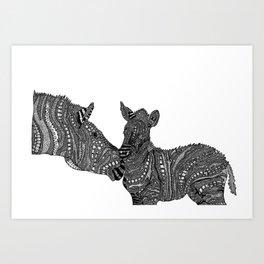 mama stripes and her bub Art Print